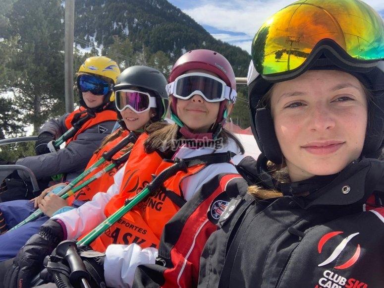 Up on the ski lift