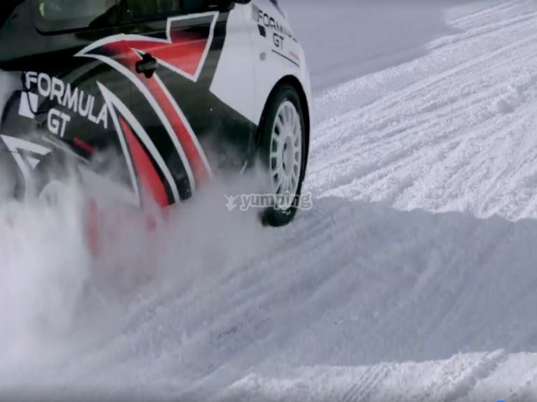 Drift in the snow with a Nissan Micra