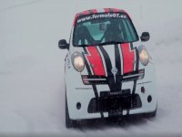 Two laps in Nissan Micra snow circuit