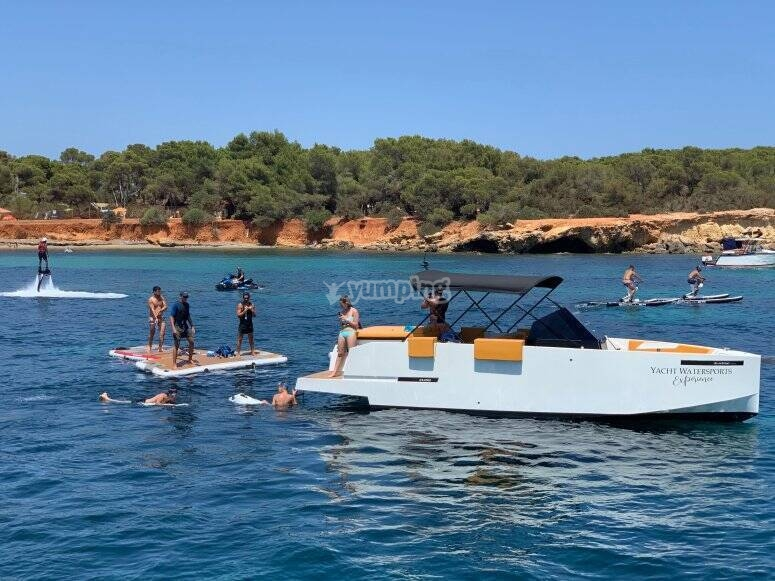 Boat with platform for all kinds of water sports