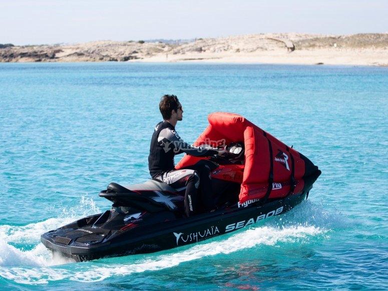 Giving jet skiing through the Mediterranean