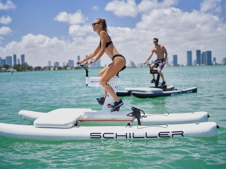 Pedaling with the water bike