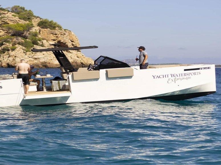 The boat of water activities in Mediterranean waters