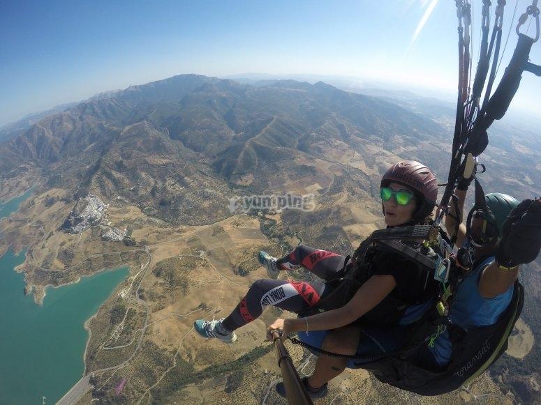 Paragliding flight through Sierra de Algodonales