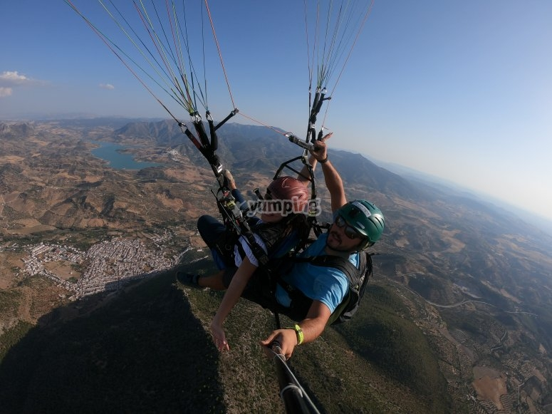 Flying over the Sierra de Grazalema in paragliding