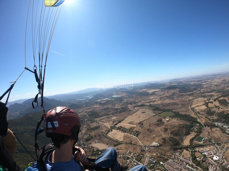 Panoramic views of the paragliding in Cádiz