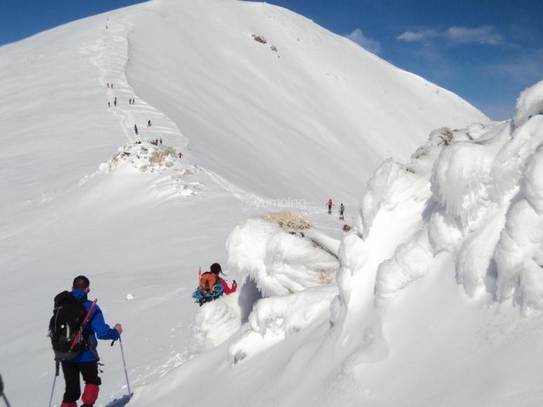 学会用雪鞋行走在雪地中
