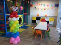 Space decorated with balloons