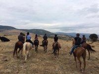 马德里北部山脉的骑马风景