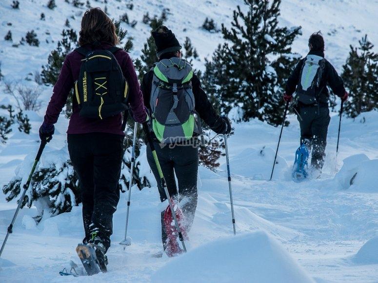 Practicando raquetas de nieve en Sierra Nevada