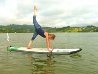 Stretching paddle board