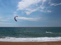 kitesurfing on the beach