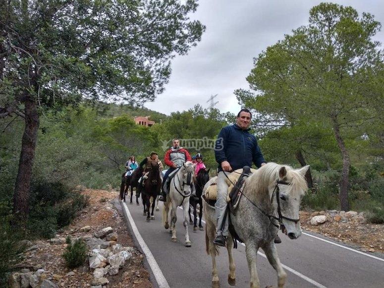 Camino a la playa a caballo