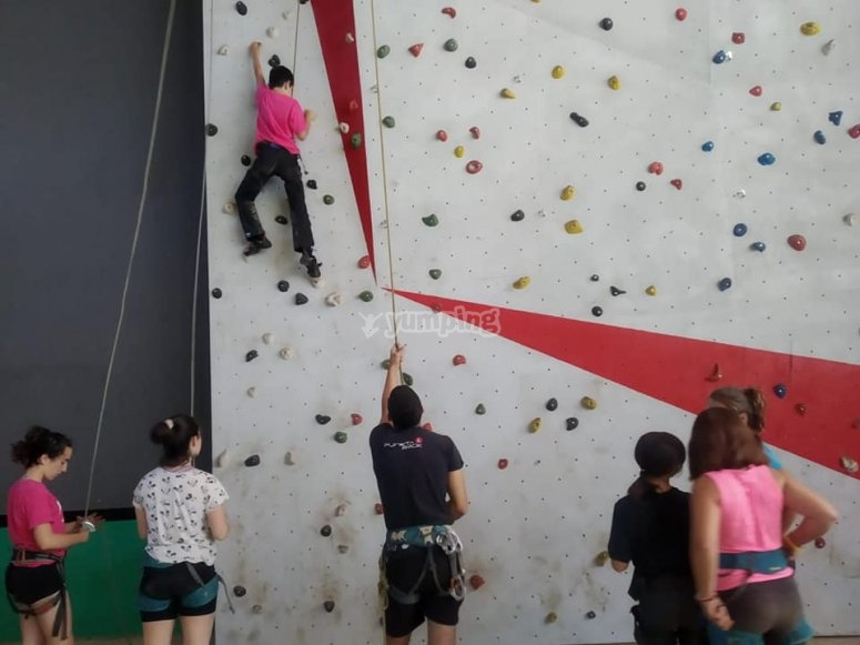 Camp with climbing wall