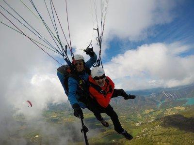 Paragliding flight through Ager Valley