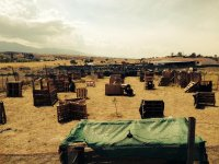 Paintball stage with obstacles