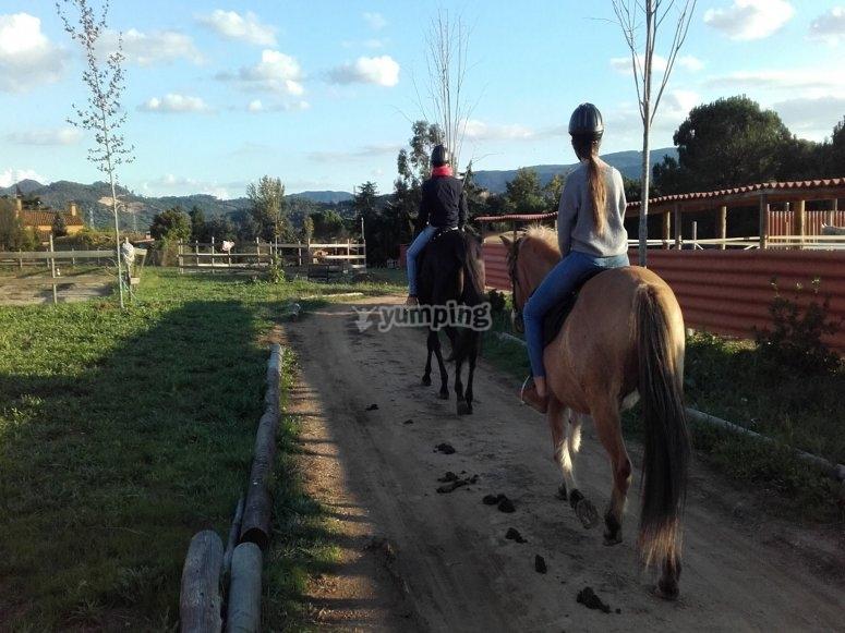 骑马穿过Montseny