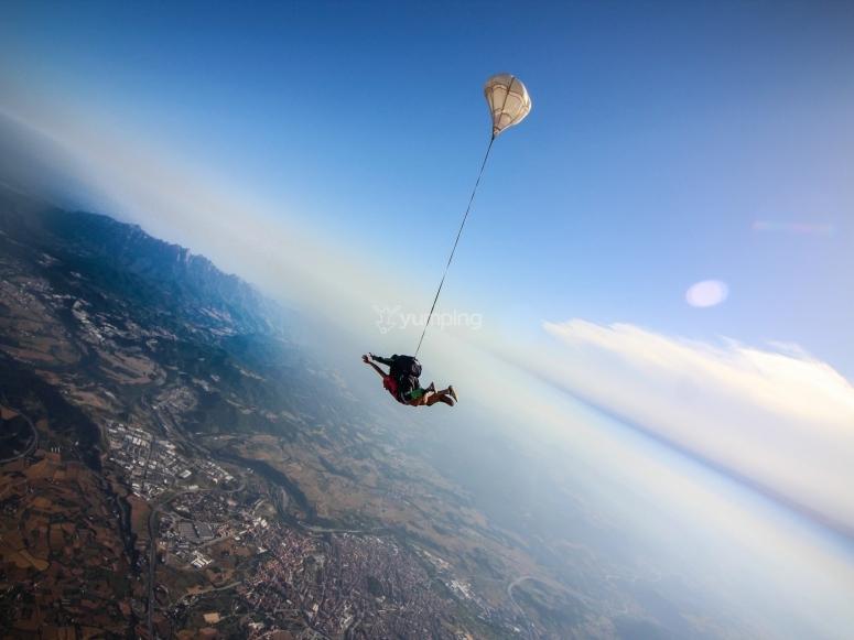 Parachute jump over the Montserrat