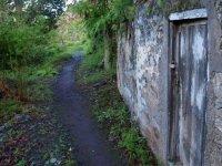 废弃建筑旁边的路