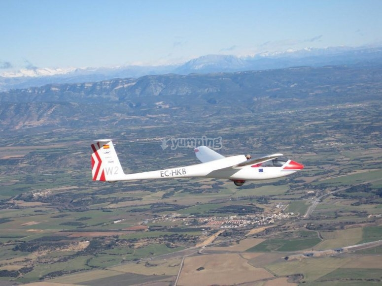 Flying over Huesca in glider