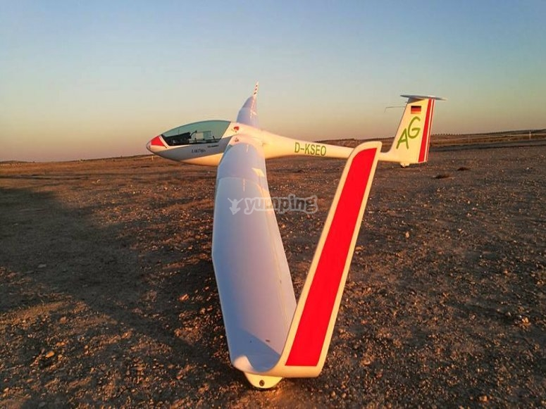 Our glider on land at sunset
