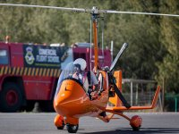Ready to take off in an autogyro