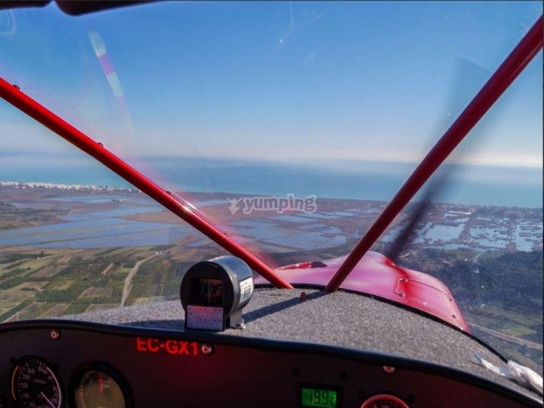 En la avioneta durante el vuelo