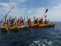 Together grouping the kayaks