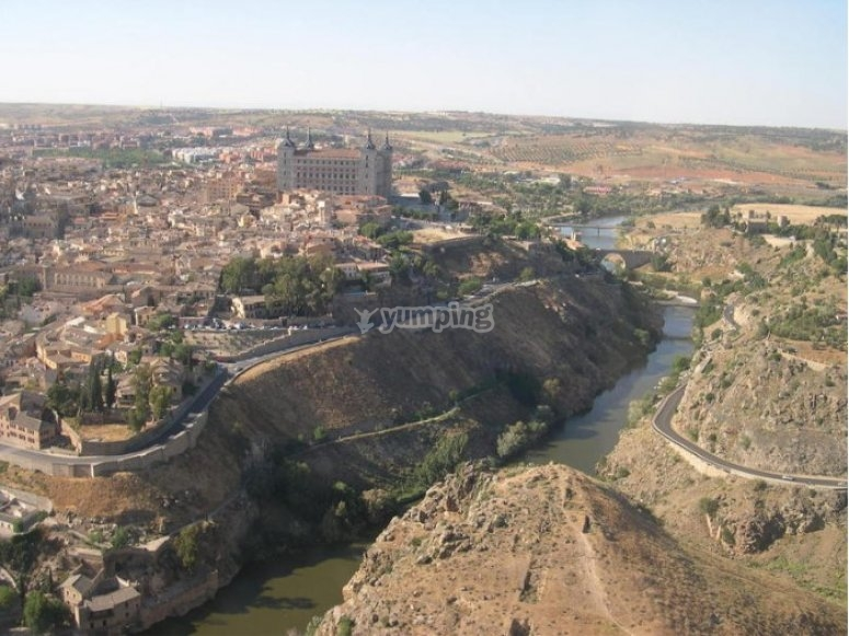 View of Toledo from a plane