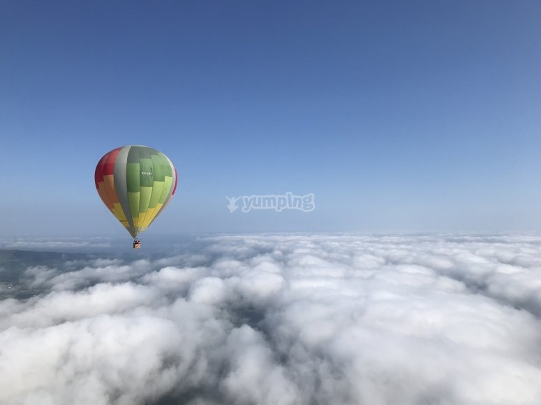 Flying through clouds in balloon