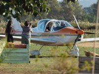 标志布拉瓦海岸飞行的飞机与飞行员和乘客
