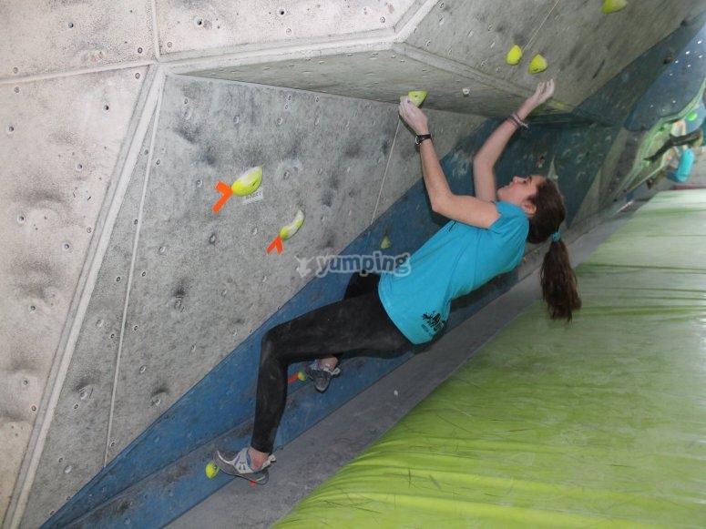 Climbing in the Estella climbing wall