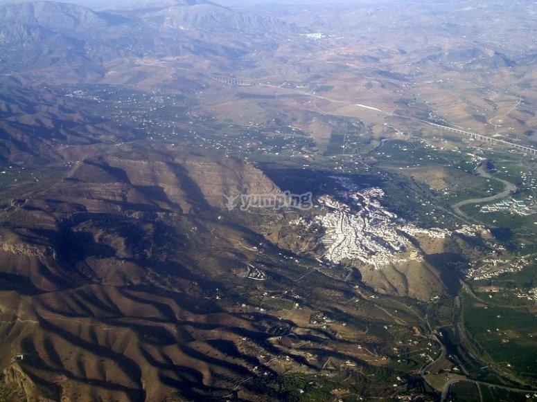 Vista aérea del Valle de Abdalajis, zona que visitaremos y conoceremos de cerca durante la ruta