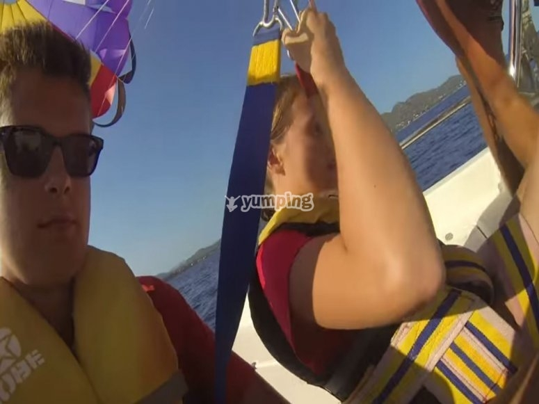 Prepared for the ascent in parasailing