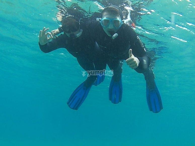 Practicando snorkel en Lanzarote