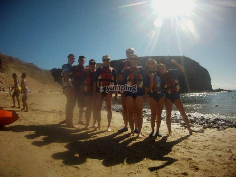 El grupo unido posando después de realizar la aventura