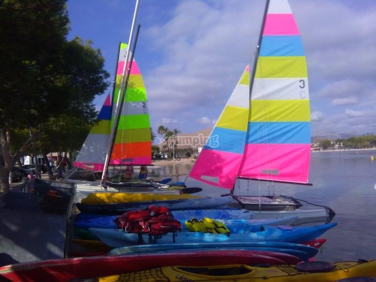 Catamarans prepared to start the activity
