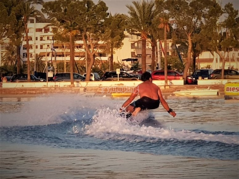 Surfing the waters of Alcudia Bay