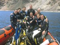 Group of divers in the boat returning from a dive in the South of Tenerife
