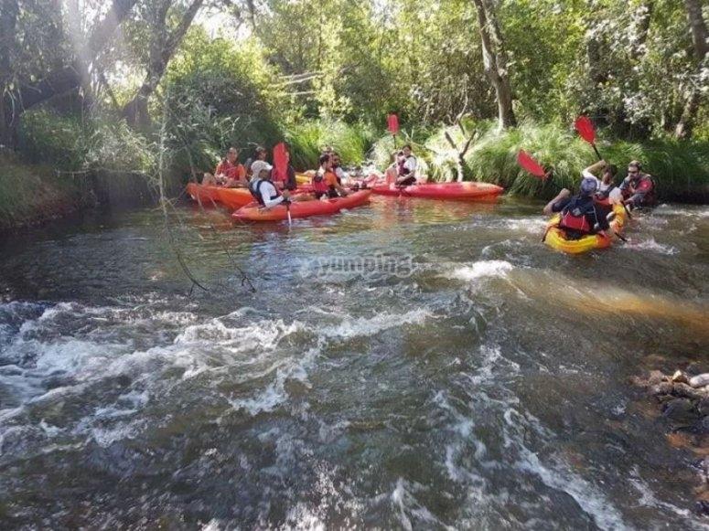 一群人与独木舟一起享受