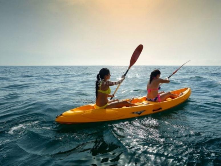 Kayak doble con amigas