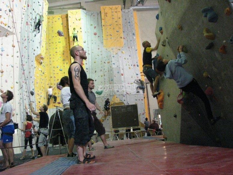 Sessione di arrampicata in una parete da arrampicata al coperto