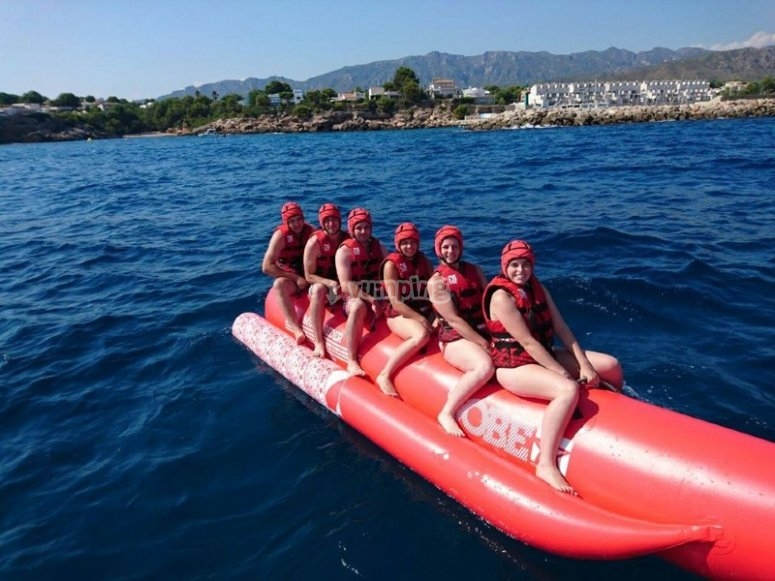 In full adventure with the banana boat