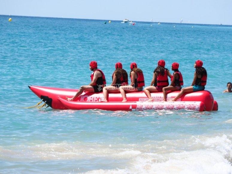 Crossing the sea in a banana boat