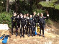 Equipped for scuba diving