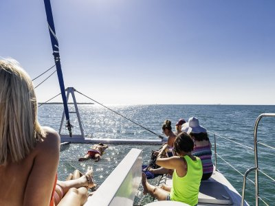 Catamaran tour, BBQ and open bar in Costa Dorada