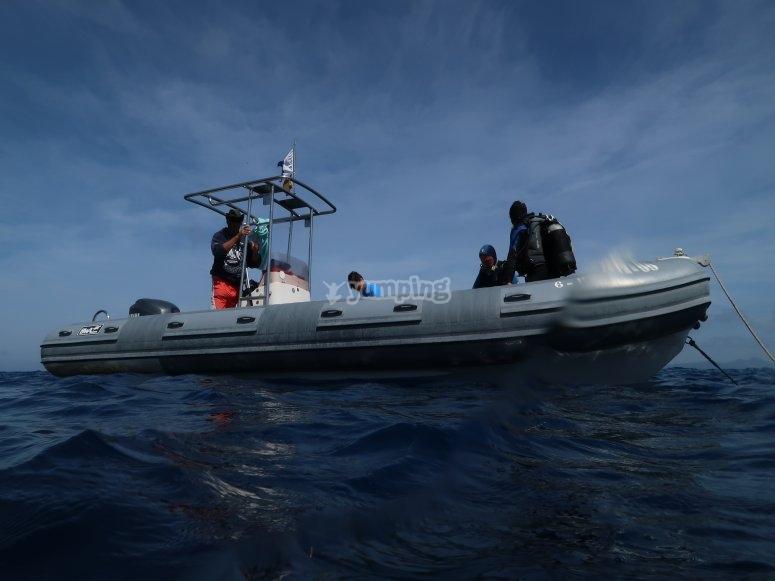 在福门特拉岛乘船潜水