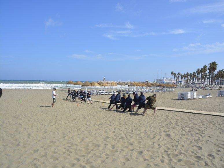 Mini-Olympics on the beach with friends