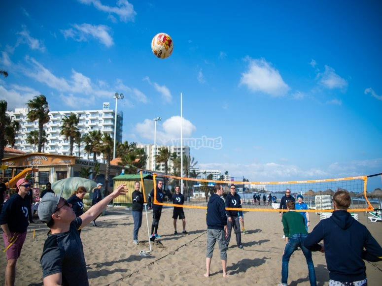 Playing volleyball with those at work