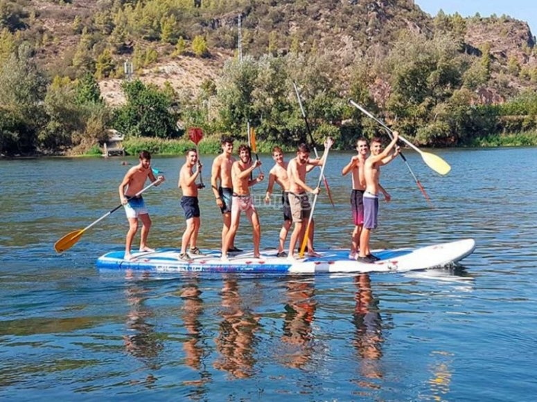 The team in the paddle board